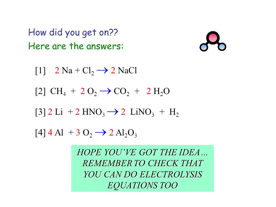 How did you get on Here are the answers: [1] 2 Na + Cl2  2 NaCl. [2] CH4 + 2 O2  CO2 + 2 H2O.